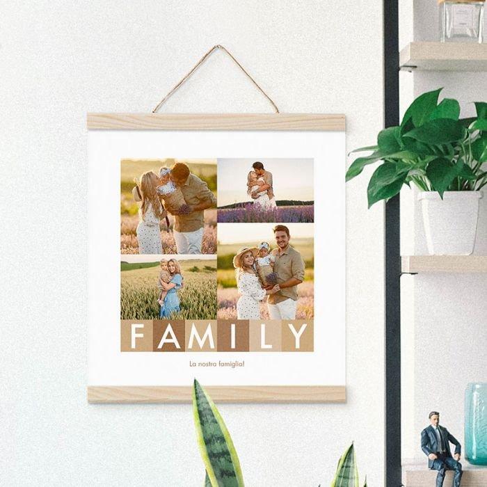 Stampa Poster Collage Family Poster 30x30 con astine in legno